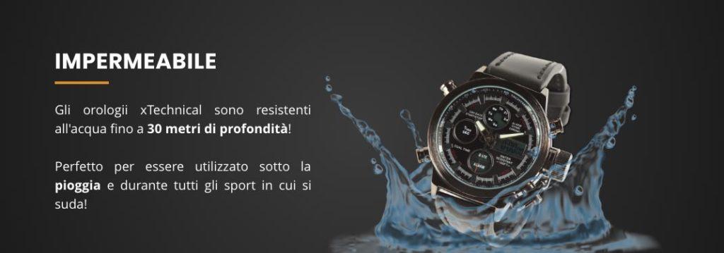xtechinical orologio resistente all'acqua